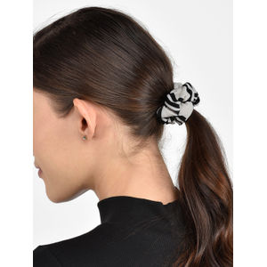 Toniq Set of 2 Black and White Polka Dot & Stripe Hair Scrunchie Rubberband For Women