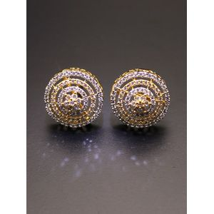 Gold-Toned & White Circular Studs