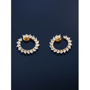 Rhodium-Plated White Gold-Toned Circular Handcrafted Drop Earrings