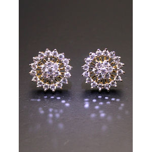 Gold-Toned White Circular Studs