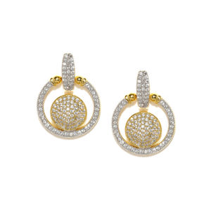 Destination Wedding Gold-Toned Cz Stone-Embellished Drop Earrings