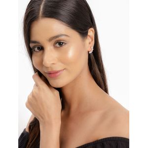 Rose Gold-Plated Leaf Shaped Stud Earrings