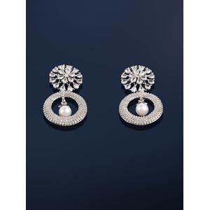 Silver-Toned & White Circular Drop Earrings