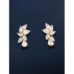 White Gold-Toned Floral Drop Earrings