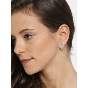 White Gold-Plated Handcrafted Teardrop-Shaped Stud Earrings