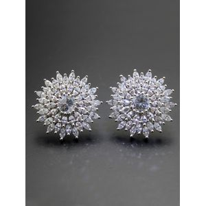 Destination Wedding Silver-Toned CZ Stone-Embellished Stud Earrings