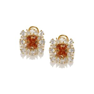Destination Wedding Gold-Toned Orange Cz Stone-Embellished Stud Earrings