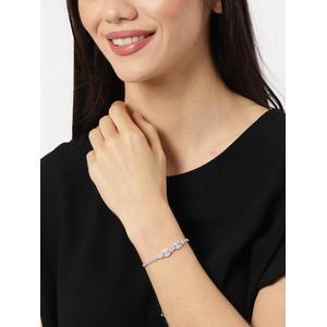 Silver Fiona Cz Stone-Studded Bracelet