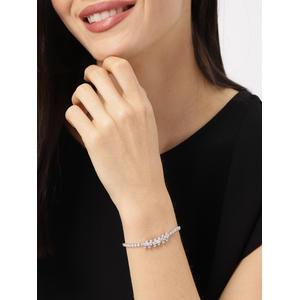Silver Toned Wave Cz Stone-Studded Bracelet