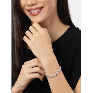 Silver-Toned Alloy Cubic Zirconia Charm Bracelet