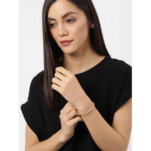 Gold-Toned Alloy CZ Stone-studded Charm Bracelet