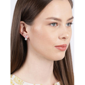White Rhodium-Plated Cz Circular Drop Earring For Women