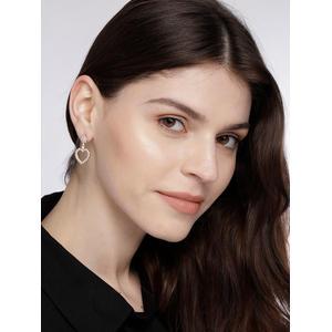 Silver Toned Heart Cz Stone-Studded Drop Earrings