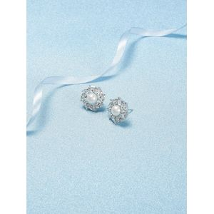 White Rhodium-Plated Cz Floral Drop Earring For Women