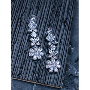 Silver-Toned Floral Drop Earrings
