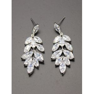 White Rhodium-Plated Cz Leaf Shape Drop Earring For Women