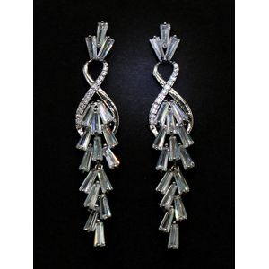 Silver-Toned White Contemporary Drop Earrings