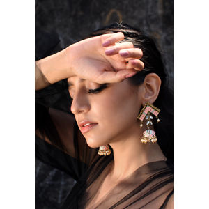 Women Gold-Toned & Pink Contemporary Drop Earrings