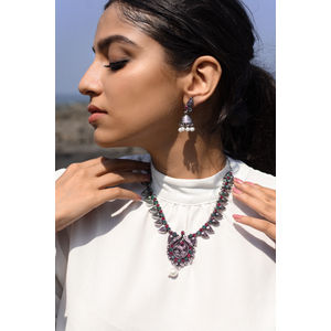 Silver-Toned Peacock Designed Oxidised Jewellery Set