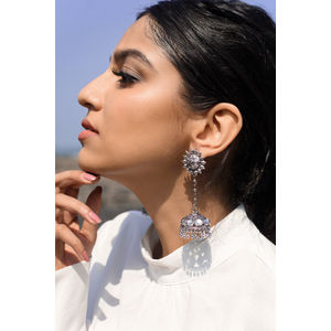 Silver Dome Drop Jhumki Earring