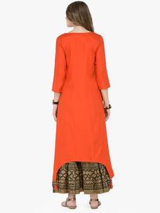 Varanga Orange Viscose Rayon Embroidery Kurta With Skirt