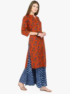 Varanga Rust Cotton Printed Kurta