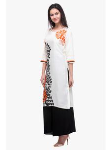 Varanga White Rayon Printed Kurta