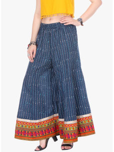 Varanga Blue Printed Cotton Cambric Straight Palazzo