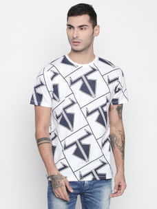 Disrupt White Round Neck Half Sleeve T-shirt For Men