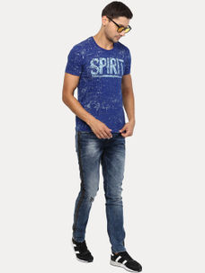 DARK ROYAL BLUE PRINTED T-SHIRT