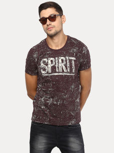 BROWN PRINTED T-SHIRT