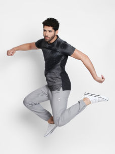 Disrupt Grey Striped Cotton Half Sleeve T-Shirt For Men's