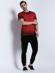 Disrupt Red Self Design Cotton Half Sleeve T-Shirt For Men's