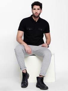 Disrupt Black  Self Design Cotton Half Sleeve Polo T-Shirt For Men's