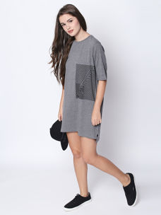 Disrupt Grey Cotton Half Sleeve Dress