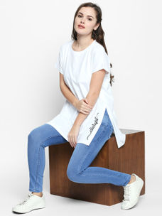Disrupt White Cotton Graphic Print Short Sleeve T-Shirt For Women's