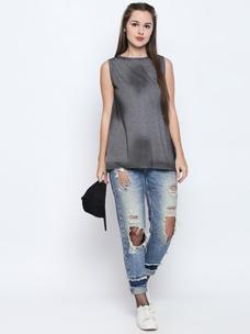 Disrupt Grey Melange Cotton Viscose Blend Graphic Print Sleeveless T-Shirt For Women's