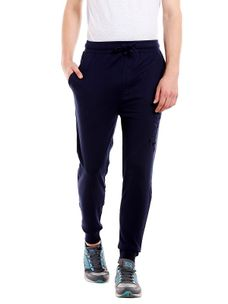 Solid Blue Color Cotton Slim Fit Track Pant
