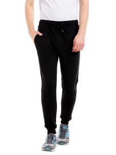 Solid Black Color Cotton Slim Fit Track Pant