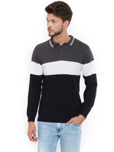 Easies by Killer Striped Grey Color Cotton Slim Fit Sweater