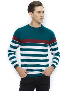 Easies by Killer Striped Green Color Cotton Slim Fit Sweater
