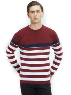 Easies by Killer Striped Maroon Color Cotton Slim Fit Sweater
