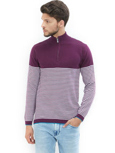 Easies by Killer Striped Purple Color Cotton Slim Fit Sweater