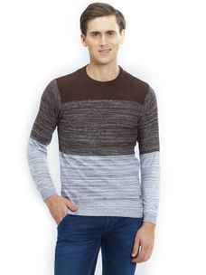 Easies by Killer Striped Brown Color Cotton Slim Fit Sweater