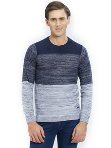 Easies by Killer Striped Blue Color Cotton Slim Fit Sweater