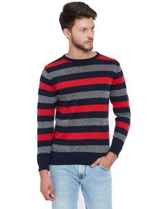 Easies by Killer Striped Red Color Cotton Slim Fit Sweater