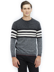 Easies by Killer Striped Black Color Cotton Slim Fit Sweater