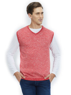 Easies by Killer Solid Red Color Cotton Slim Fit Sweater
