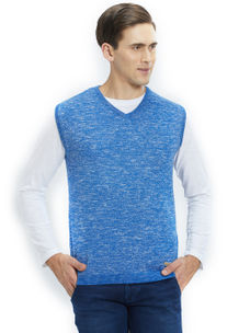 Easies by Killer Solid Blue Color Cotton Slim Fit Sweater