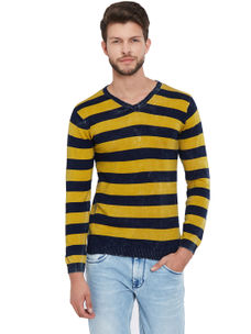 Easies by Killer Striped Yellow Color Cotton Slim Fit Sweater